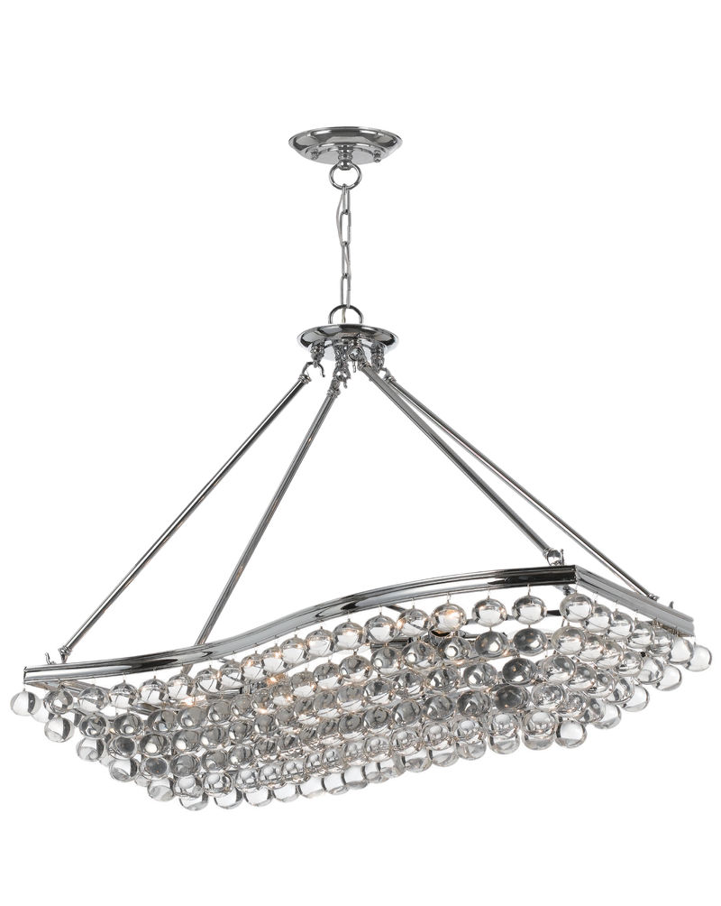 139 Ch Crystorama Hot Deal Wavy Rectangle Chandelier With Clear Smooth Glass Accents Polished Chrome Finish On A Solid Brass Frame