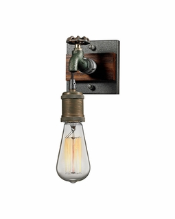 14280/1 ELK Lighting Jonas 1-Light Wall Lamp in Multi-Tone Weathered with Faucet Motif