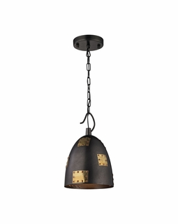 14290/1 Elk Restoration Strasburg 1 Light Pendant In Weathered Iron And Antique Gold