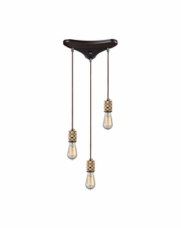 14391/3 ELK Lighting Camley 3-Light Triangular Pendant Fixture in Oil Rubbed Bronze and Polished Gold