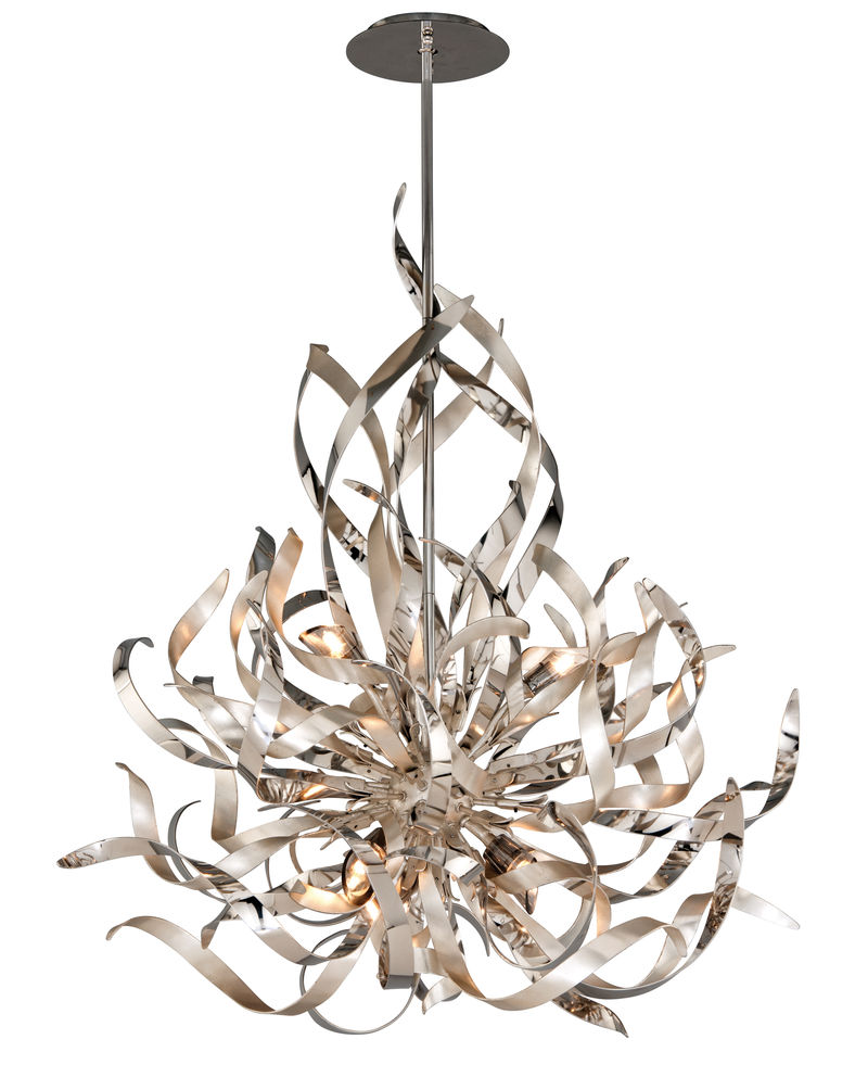 154 46 Corbett Graffiti 6lt Pendant With Silver Leaf Polish Stainless Finish