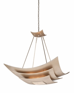 155-48 Corbett Muse 8Lt Pendant with Tranquility Silver Leaf and Polished Stainless Finish