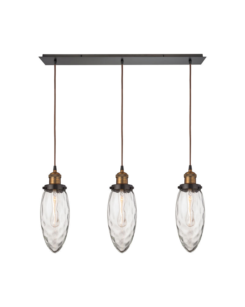 16310 3 Elk Lighting Owen Light Triangular Pendant Fixture In Antique Br And Oil Rubbed Bronze With Water Gl
