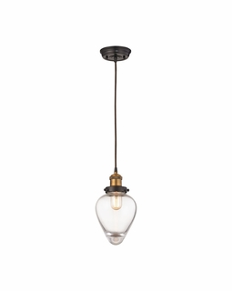 16325/1 ELK Lighting Bartram 1-Light Mini Pendant in Antique Brass and Oiled Bronze with Clear Optic Glass