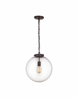 16373/1 ELK Lighting Gramercy 1-Light Pendant in Oil Rubbed Bronze with Clear Glass