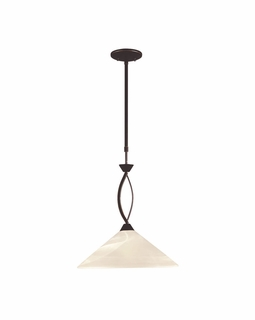 16550/1 Transitional Elysburg 1 Light Pendant In Oil Rubbed Bronze And White Glass