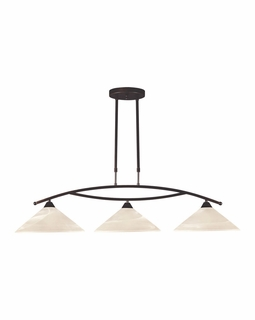16552/3 Transitional Elysburg 3 Light Island In Oil Rubbed Bronze And White Glass