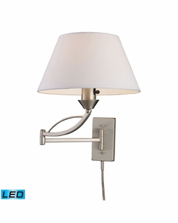 17016/1-LED ELK Lighting Elysburg 1-Light Swingarm Wall Lamp in Satin Nickel with White Fabric Shade - Includes LED Bulb