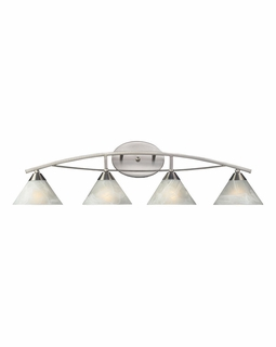 17019/4 ELK Lighting Elysburg 4-Light Vanity Lamp in Satin Nickel with White Marbleized Glass