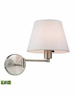 17153/1-LED ELK Lighting Avenal 1-Light Swingarm Wall Lamp in Brushed Nickel with White Fabric Shade - Includes LED Bulb