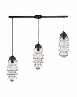 17205/3L ELK Lighting Cipher 3-Light Linear Pendant Fixture in Oil Rubbed Bronze with Clear Glass