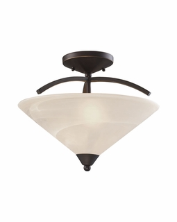 1743/2 ELK Lighting Elysburg 2-Light Semi Flush in Oil Rubbed Bronze with White Marbleized Glass