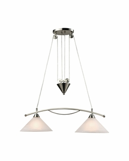 17631/2 Transitional Elysburg 2 Light Island In Satin Nickel