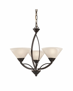17645/3 Transitional Elysburg 3 Light Chandelier In Oil Rubbed Bronze And White Glass