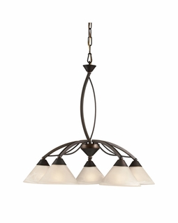 17646/5 Transitional Elysburg 5 Light Chandelier In Oil Rubbed Bronze And White Glass