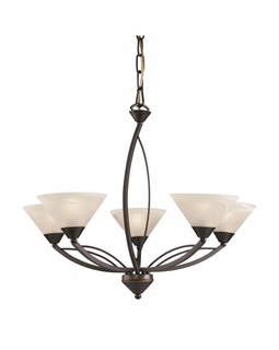 17647/5 Transitional Elysburg 5 Light Chandelier In Oil Rubbed Bronze And White Glass