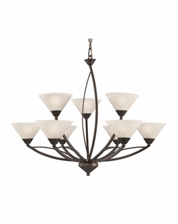17648/6+3 Transitional Elysburg 9 Light Chandelier In Oil Rubbed Bronze And White Glass