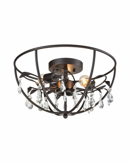 18221/3 Elk Bridget 3 Light Semi Flush In Oil Rubbed Bronze