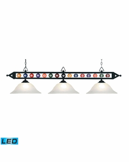 190-1-BK-G1-LED Elk Designer Classics 3 Light LED Billiard In Matte Black And White Faux Alabaster Glass