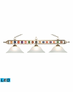 190-1-SN-G1-LED Elk Designer Classics 3 Light LED Billiard In Satin Nickel And White Faux Alabaster Glass