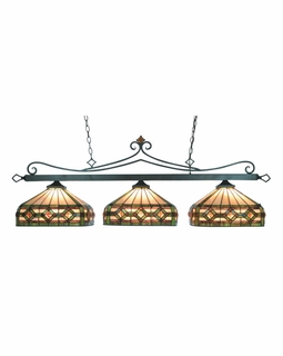 190-11-TB-T8 Elk Classics Tiffany Lighting 3 Light Billiard In Tiffany Bronze And Multicolor Tiffany Glass