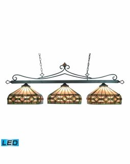 190-11-TB-T8-LED Elk Classics Tiffany Lighting 3 Light LED Billiard In Tiffany Bronze
