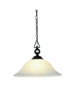 190-P-BK-G1 Elk Designer Classics 1 Light Pendant In Matte Black And White Faux Alabaster Glass