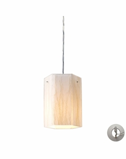 19031/1-LA Elk Modern Modern Organics 1 Light Pendant In Polished Chrome And White Sawgrass - Includes Recessed Lighting Kit