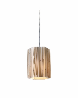 19061/1 Elk Modern Modern Organics 1 Light Pendant In Polished Chrome And Bamboo Stem