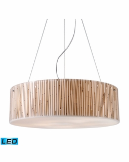 19063/5-LED Elk Modern Modern Organics 5 Light LED Pendant In Polished Chrome And Bamboo Stem