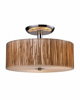 19065/3 Elk Modern Modern Organics 3 Light Semi Flush In Polished Chrome And Bamboo Stem