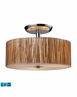 19065/3-LED Elk Modern Modern Organics 3 Light LED Semi Flush In Polished Chrome And Bamboo Stem