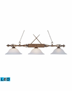 194-WD-G1-LED Elk Designer Classics 3 Light LED Billiard In Wood Patina And White Faux Alabaster Glass