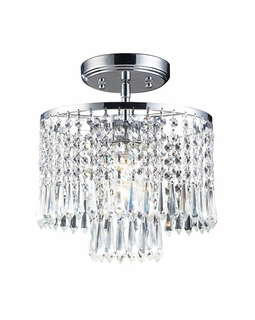 1991/1 Elk Modern Optix 1 Light Flushmount In Polished Chrome And Clear Crystal
