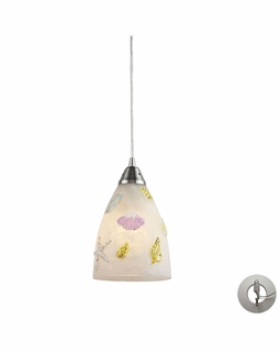20000/1-LA Elk Seashore 1 Light Mini Pendant In Satin Nickel And Hand Painted Glass - Includes Recessed Lighting Kit