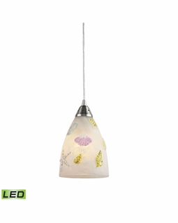 20000/1-LED Elk Seashore 1 Light LED Mini Pendant In Satin Nickel And Hand Painted Glass