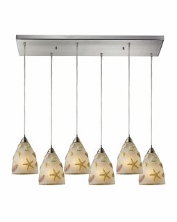 20000/6RC Elk Seashore 6 Light Mini Pendant In Satin Nickel And Hand Painted Glass