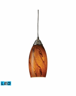 20001/1BG-LED Elk Galaxy 1 Light LED Mini Pendant In Brown And Satin Nickel