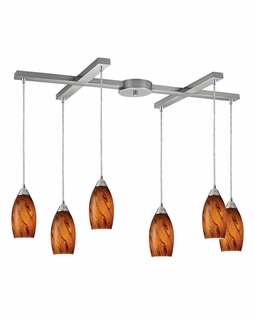 20001/6BG ELK Lighting Galaxy 6-Light H-Bar Pendant Fixture in Satin Nickel with Brown Glass