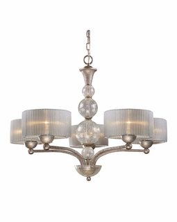 20009/5 ELK Lighting Alexis 5-Light Chandelier in Antique Silver with Translucent Silver Fabric Shade