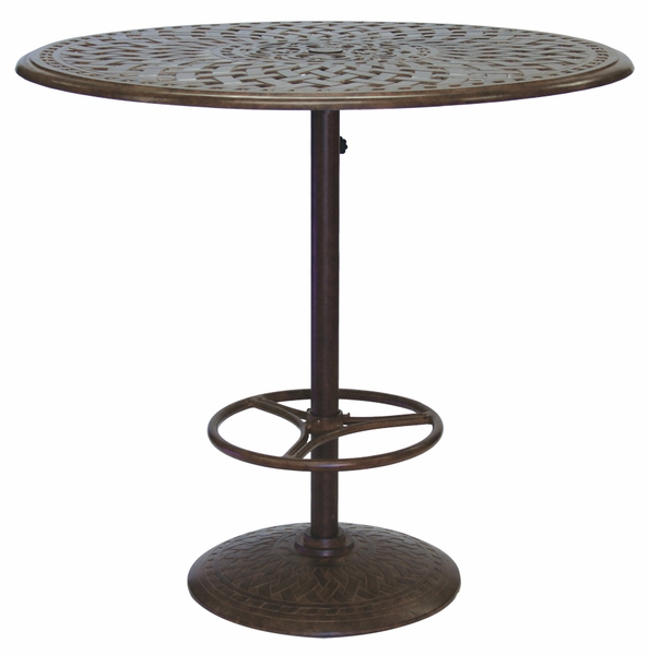 201060 f darlee 42 round pedestal bar patio table in cast aluminum with a mocha or antique. Black Bedroom Furniture Sets. Home Design Ideas