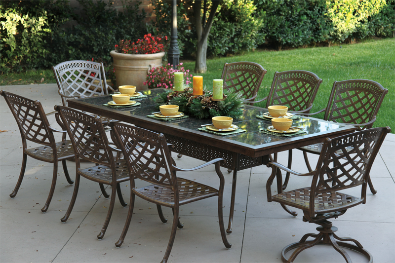 Click To Enlarge: Darlee 201077 L Table With Sedona Dining Chairs