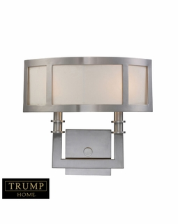 20151/2 ELK Lighting Seven Springs 2-Light Wall Lamp in Satin Nickel with White Fabric Shade