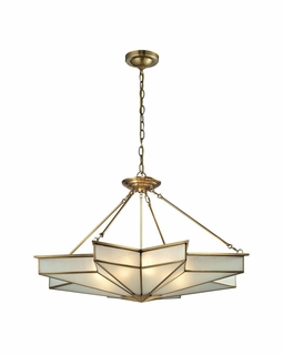 22013/8 ELK Lighting Decostar 8-Light Pendant in Brushed Brass with Frosted Glass Panels