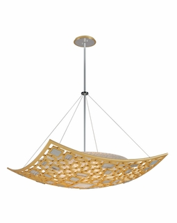 223-45 Corbett Motif 5Lt Pendant with Gold Leaf and Polished Stainless Finish