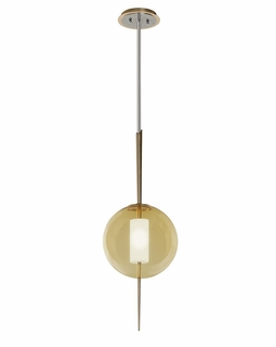 227-41 Corbett Piet 1Lt Pendant with Gold Leaf and Polished Stainless Finish