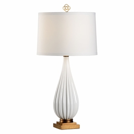26112 Wildwood Lamps Bridget Lamp - Snow - Snow White/Antique Gold Finish