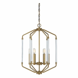 3-200-6-322 Savoy House Transitional Reed 6 Light Foyer in Warm Brass