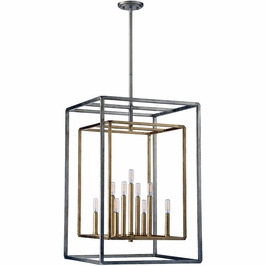 3-823-9-212 Savoy House Transitional Berlin 9 Light Foyer in Argentum and Gold