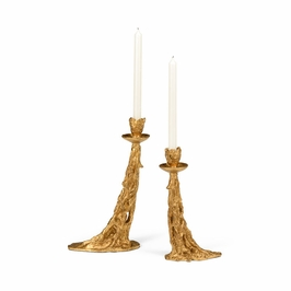 301341 Wildwood Lamps Melt Down Candlesticks-(S2) - Antique Gold Leaf Finish
